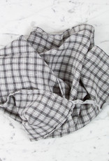 Washed French Linen Dish or Hand Towel with Hidden Apron Strings - Grey Small Checks
