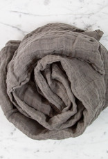 Washed French Linen Gauze Scarf - Deep Grey