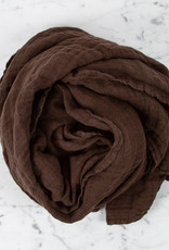Washed French Linen Gauze Scarf - Rich Brown