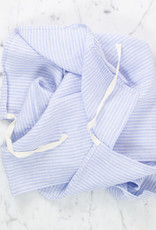 Washed French Linen Dish or Hand Towel with Hidden Apron Strings - Light Blue Shirt Stripe