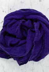 Washed French Linen Gauze Scarf - Bright Indigo