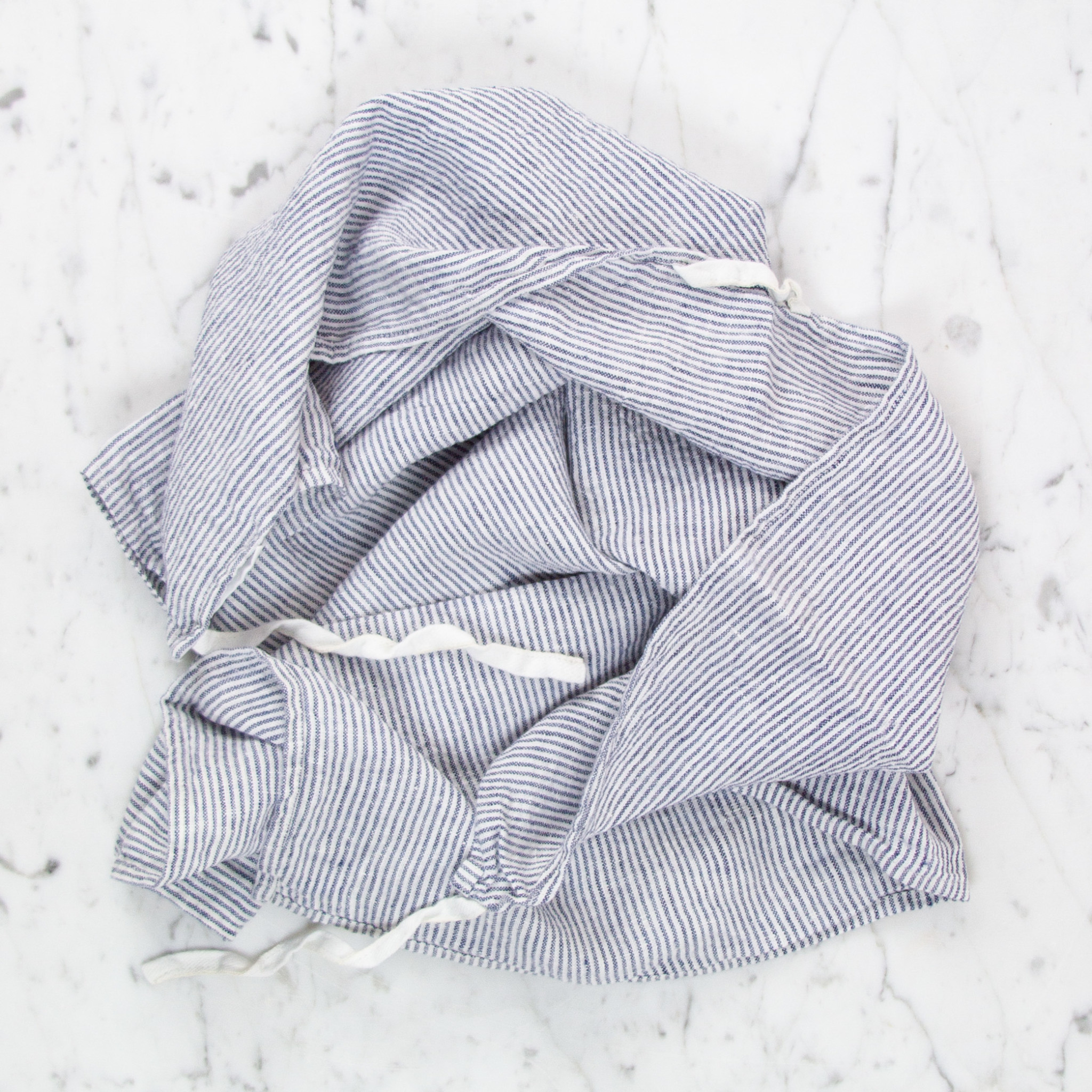 Washed French Linen Dish or Hand Towel with Hidden Apron Strings - Navy Blue + White Stripe