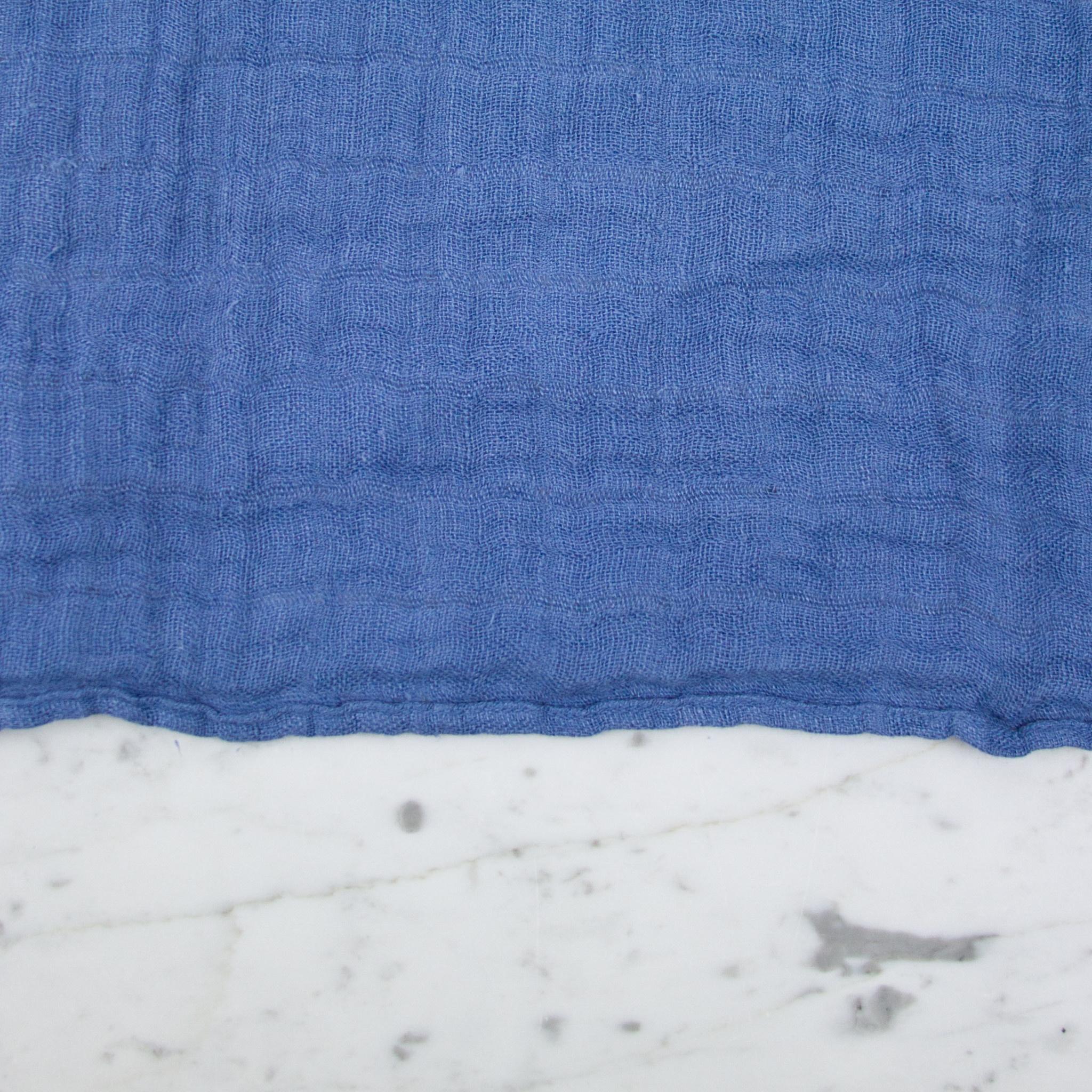 Washed French Linen Gauze Scarf - Atlantic Blue