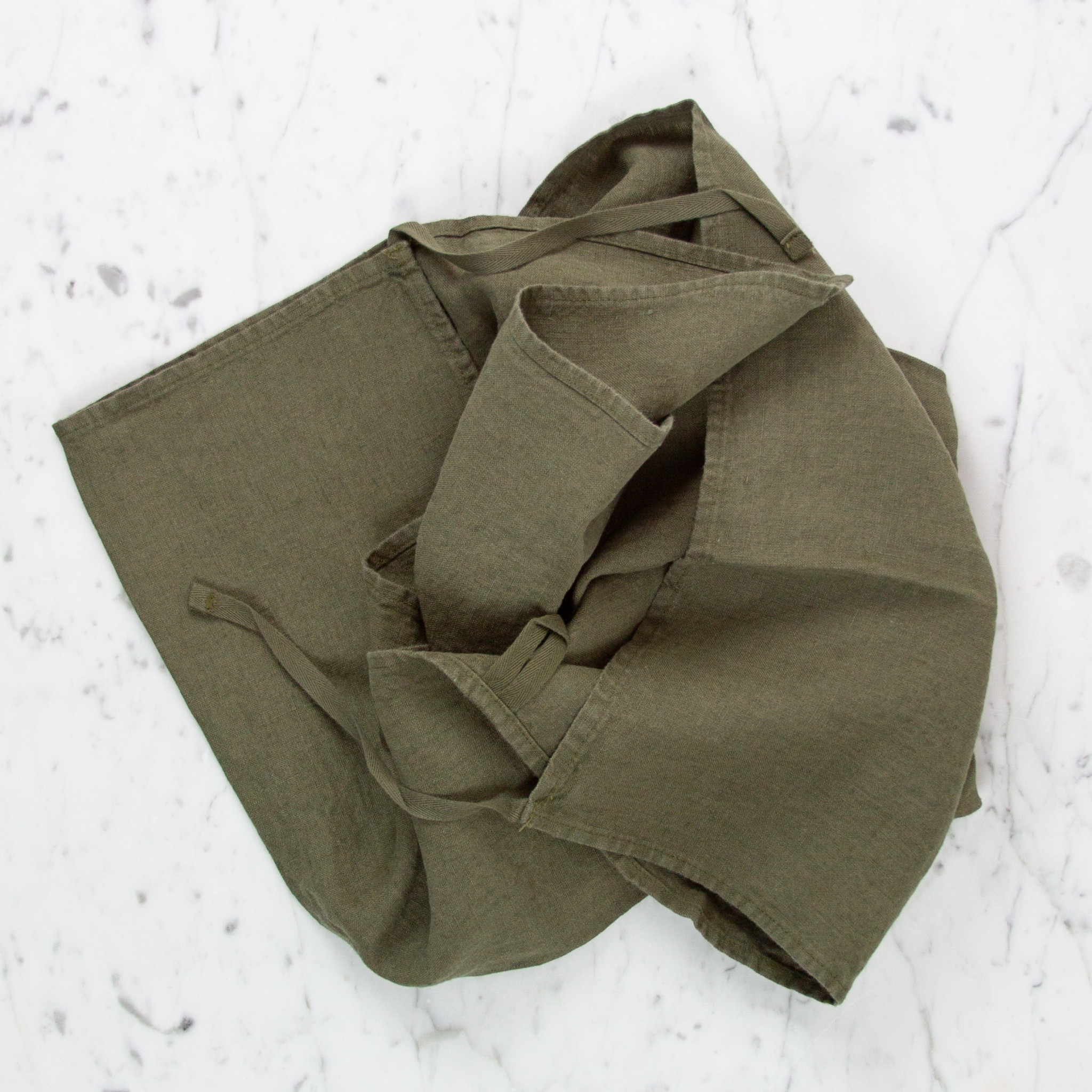 Washed French Linen Dish or Hand Towel with Hidden Apron Strings - Kaki