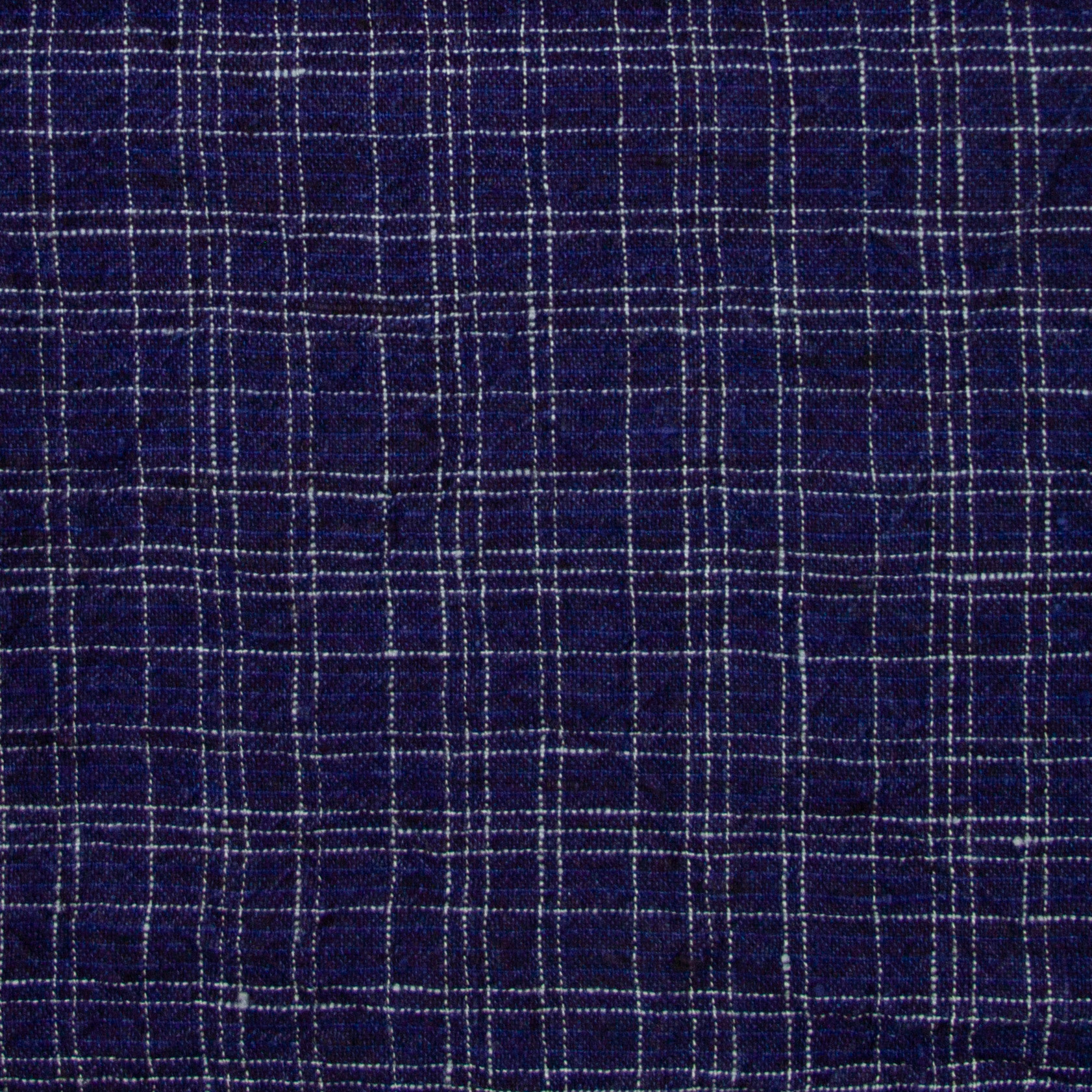 Washed French Linen Dish or Hand Towel with Hidden Apron Strings -Dark Blue Small Checks