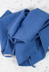 Washed French Linen Dish or Hand Towel with Hidden Apron Strings - Atlantic Blue