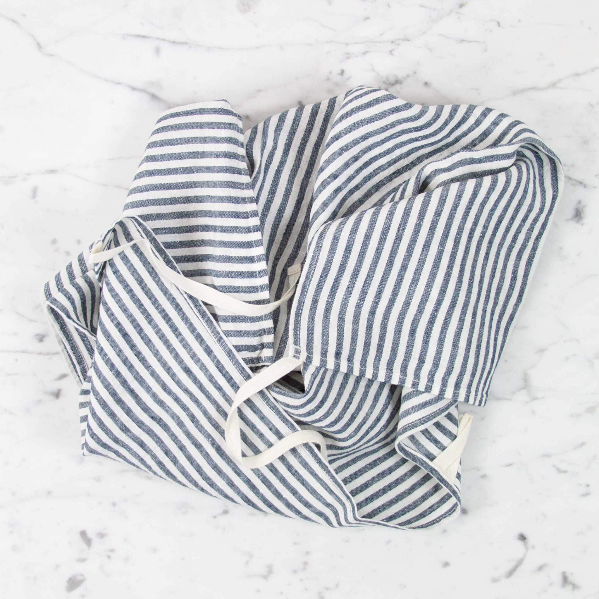 Washed French Linen Dish or Hand Towel with Hidden Apron Strings - Thick Duck Blue + White Stripe