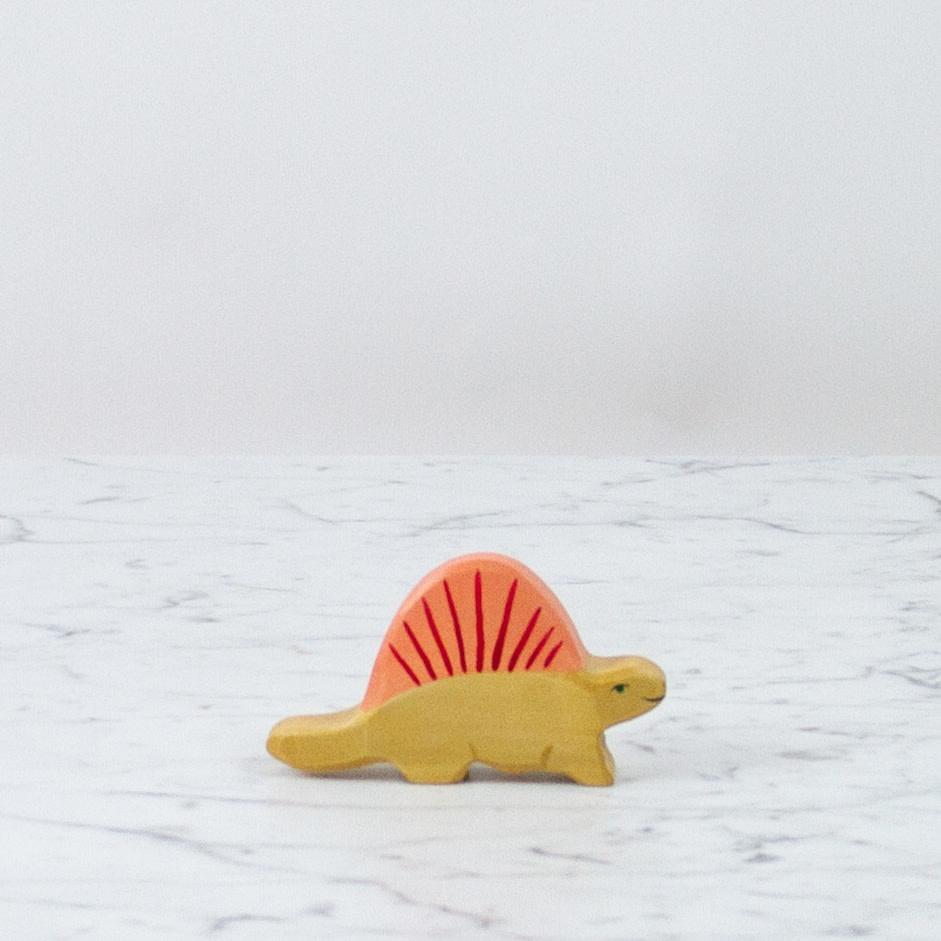 Holztiger Yellow Dimetrodon Dinosaur with Orange Spines