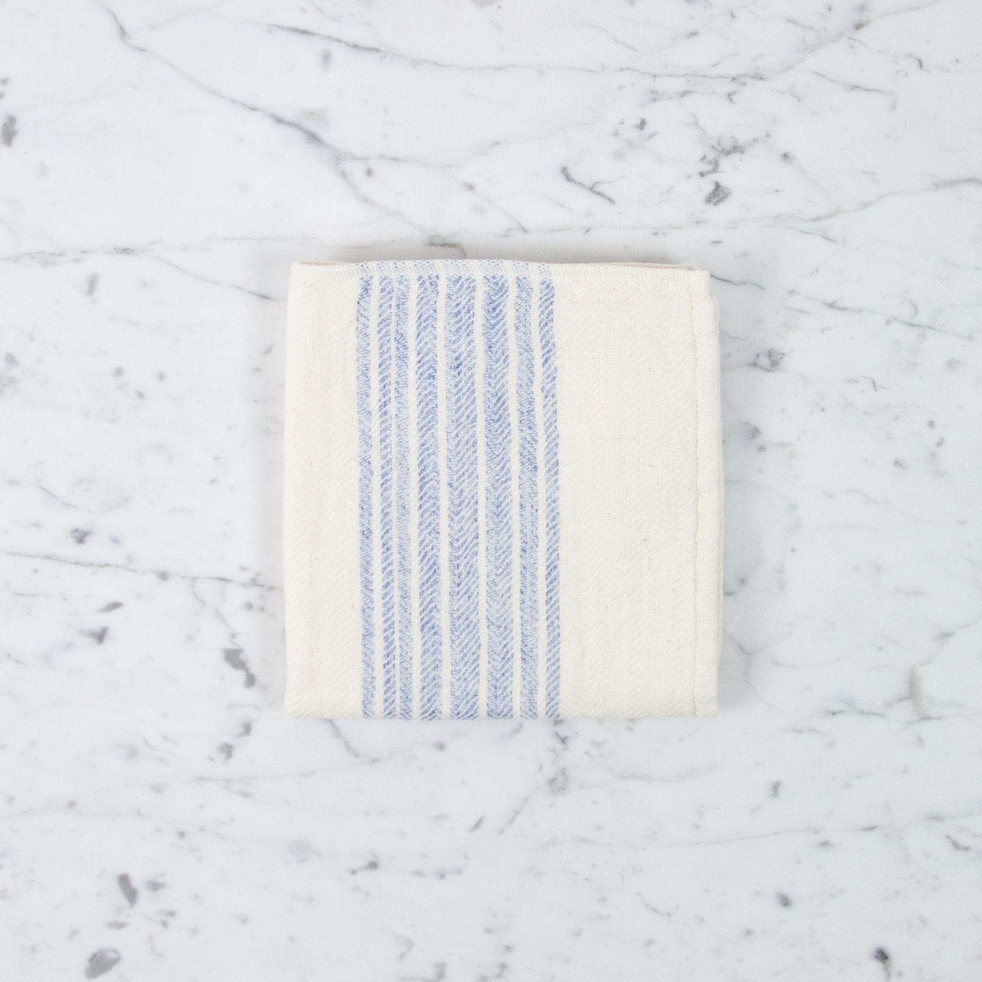 Flax Line Washcloth - Blue + Ivory