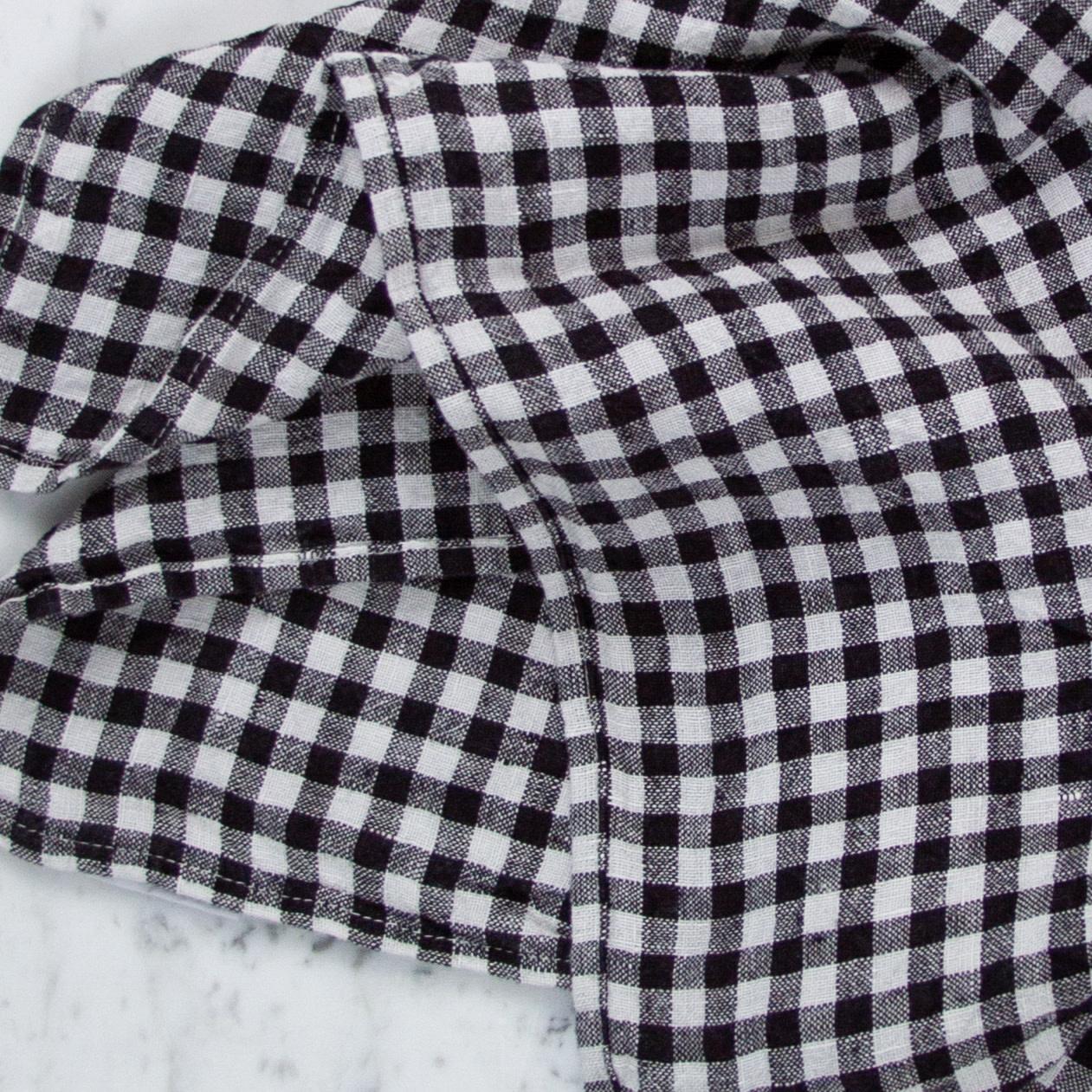 Washed French Linen Napkin - Set of 6 - Black Gingham