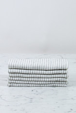 Washed French Linen Napkin - Set of 6 - Grey Pencil Stripe