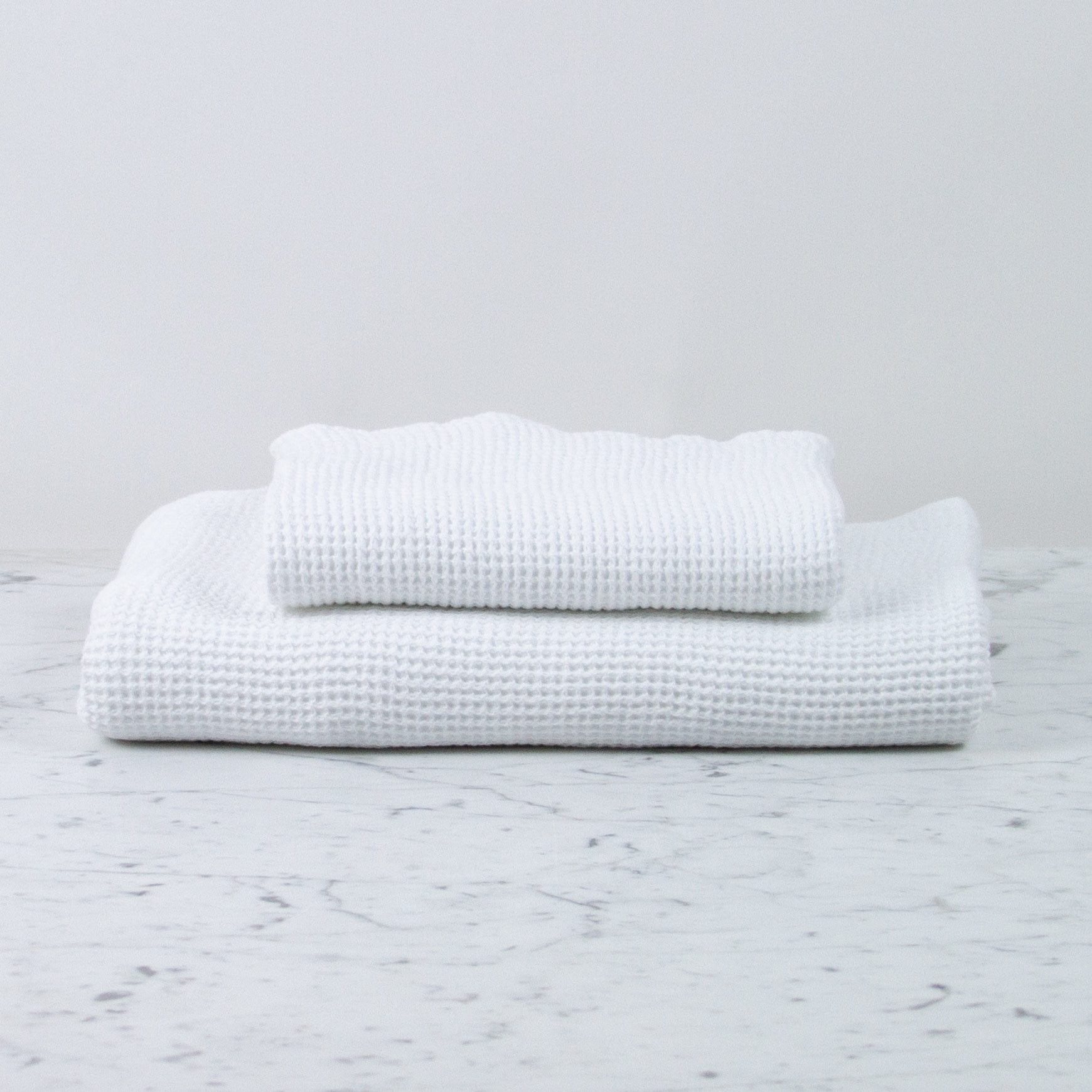 """Large Thermal French Linen + Cotton Waffle Bath Towel - 40 x 62"""" - Optic White"""