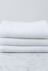 """Compact Thermal French Linen + Cotton Waffle Bath Towel - 24 x 40"""" - Optic White"""