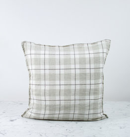 """20"""" Linen Pillow COVER ONLY - Beige Large Checks"""