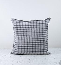 "20"" Linen Pillow COVER ONLY - Grey Small Checks"