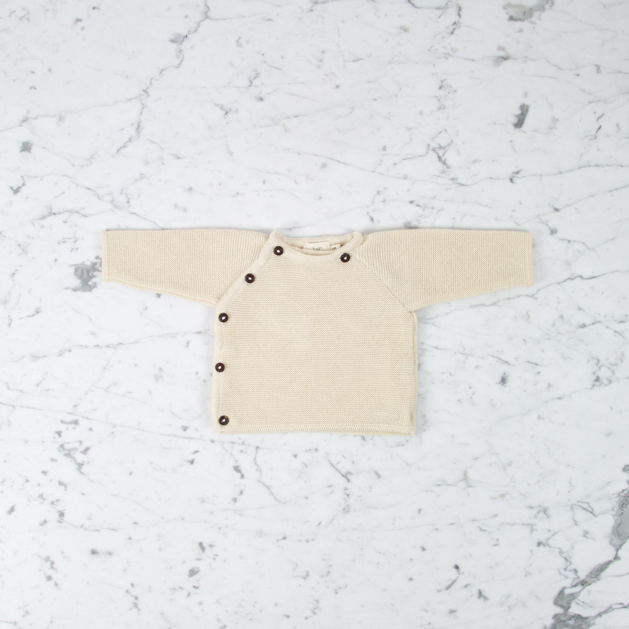 Petit Kolibri Alpaca + Cotton Knit Jacket Sweater - Beige Cream - 0-3 Month