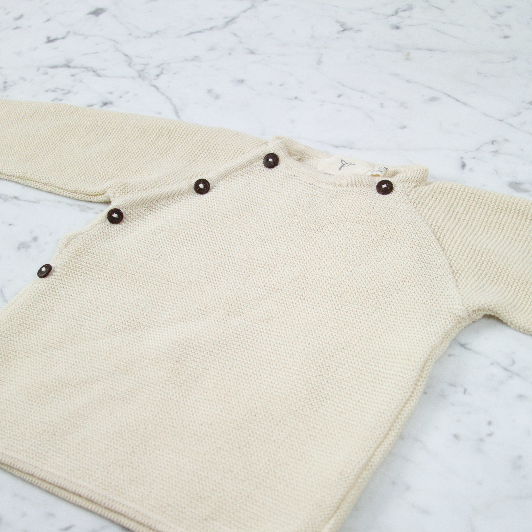 Petit Kolibri Alpaca + Cotton Knit Jacket Sweater - Beige Cream - 6-12 Month