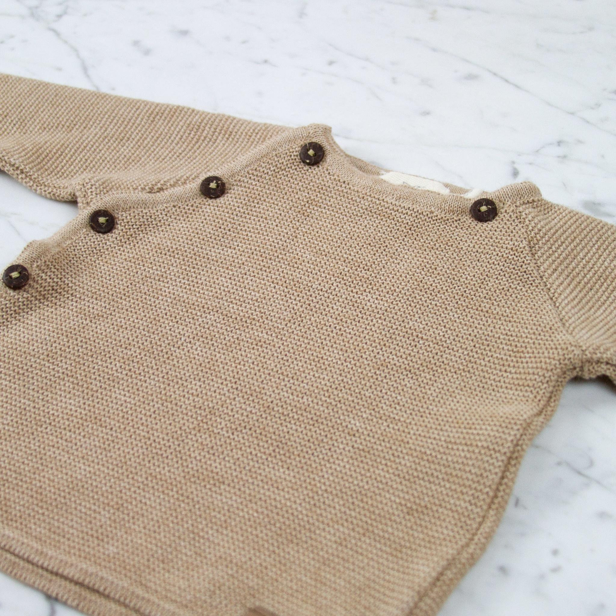 Petit Kolibri Alpaca + Cotton Knit Jacket Sweater - Brown - 3-6 Month