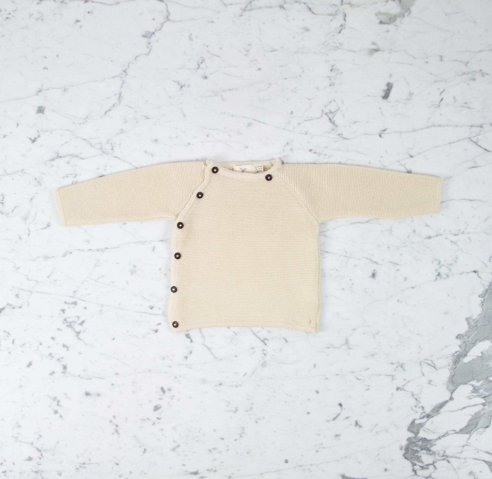 Petit Kolibri Alpaca + Cotton Knit Jacket Sweater - Beige Cream - 3-6 Month
