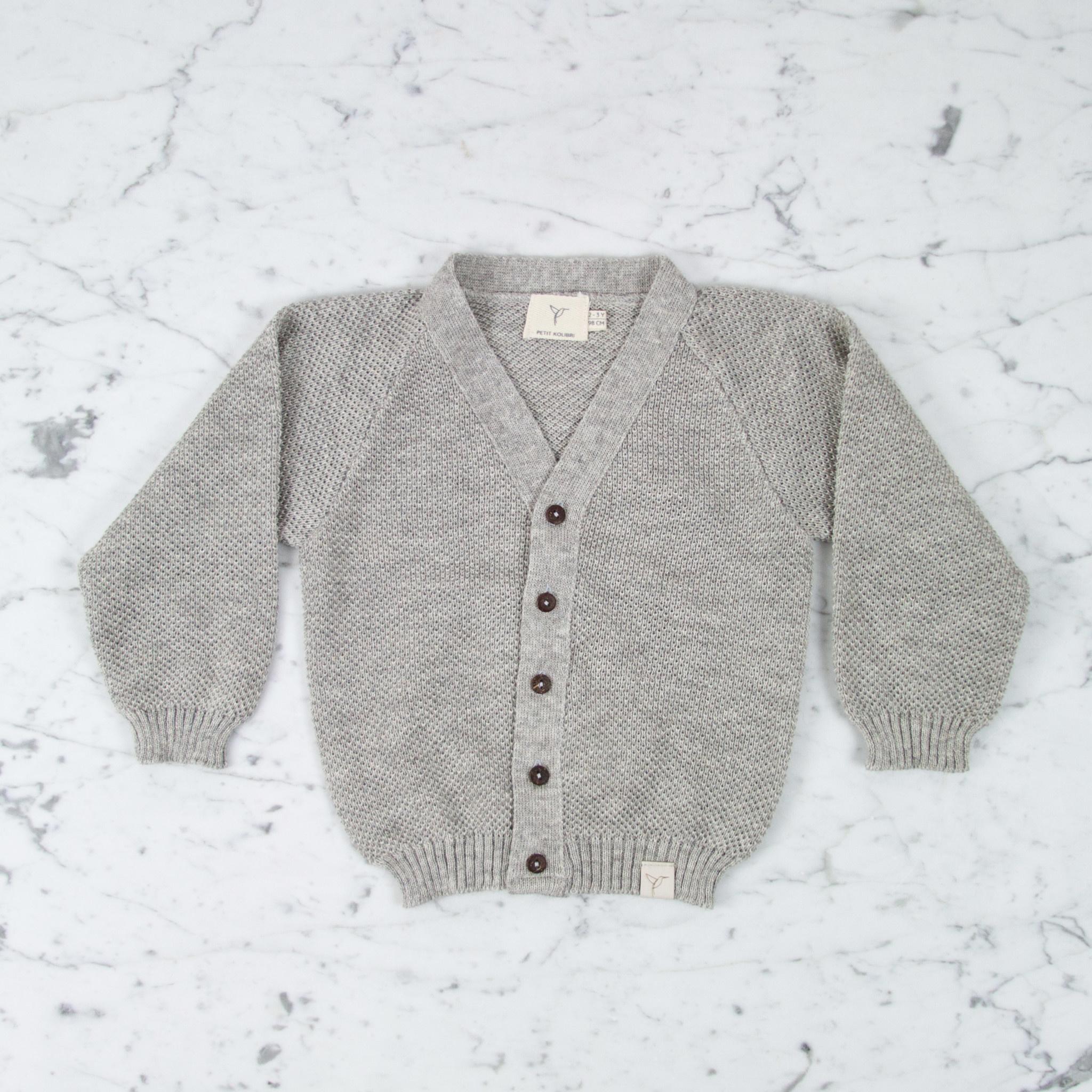 Petit Kolibri Alpaca + Cotton Knit Cardigan - Grey - 2-3 Year