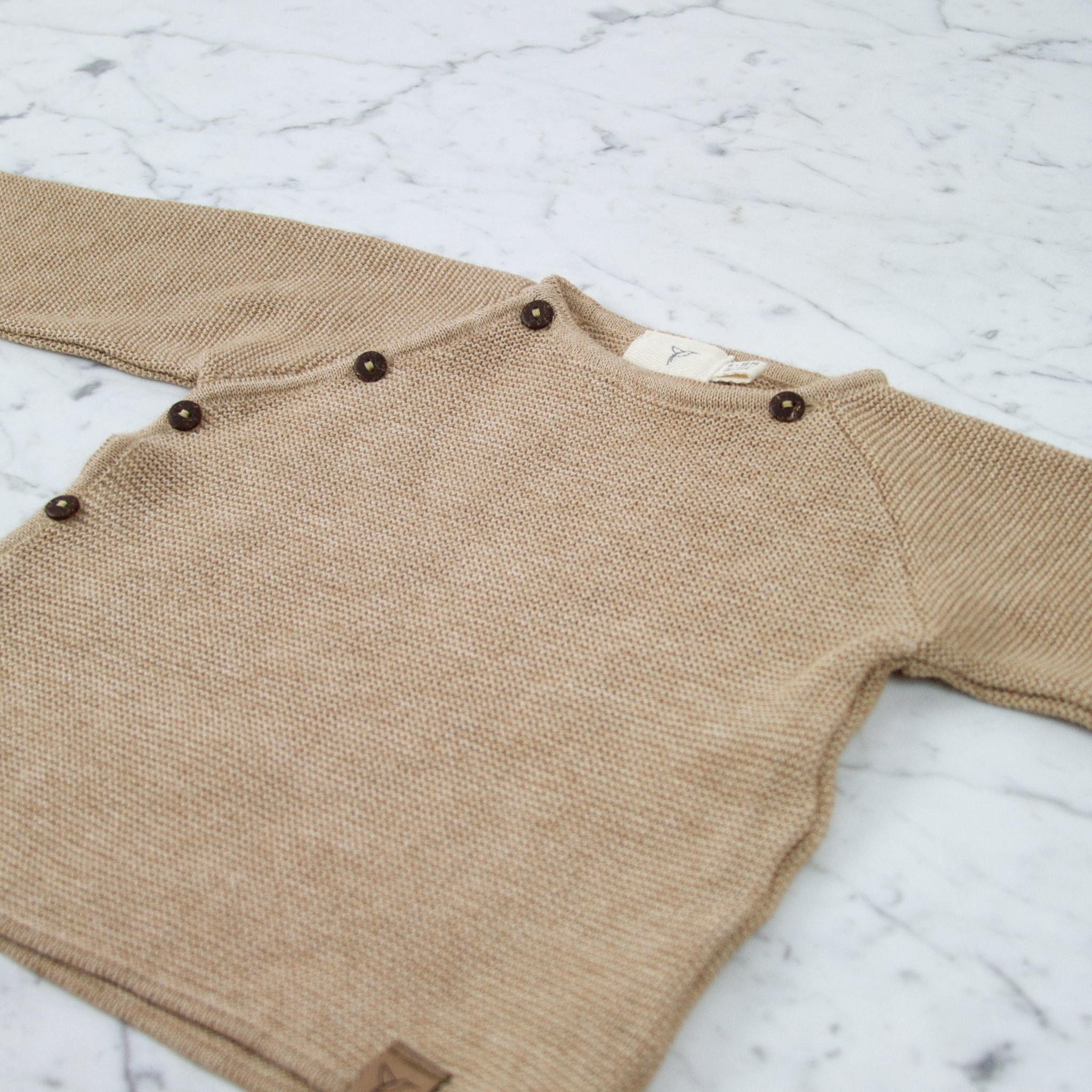 Petit Kolibri Alpaca + Cotton Knit Jacket Sweater - Brown - 6-12 Month