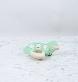 Wooden Rolling Airplane - Mint Green