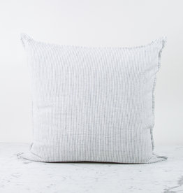 """25"""" Linen Pillow COVER ONLY - White with Black Double Stripe"""