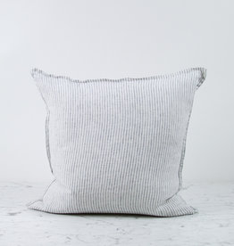 """20"""" Linen Pillow with Down Insert -  White with Black Double Stripe"""