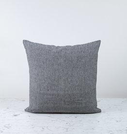 "20"" Linen Pillow with Down Insert - Black Stripe"