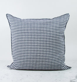 """25"""" Anthracite Grey Gingham Linen Pillow with Down Insert"""