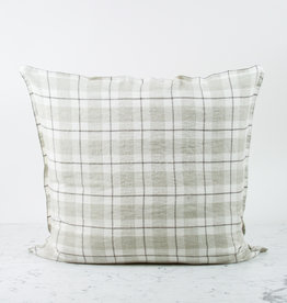 """25"""" Beige Large Checks Linen Pillow with Down Insert inc"""