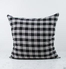 """25"""" Linen Pillow with Down Insert - Black Tartan Checks"""