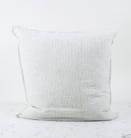 """25"""" Linen Pillow with Down Insert - Grey Pencil Stripe"""
