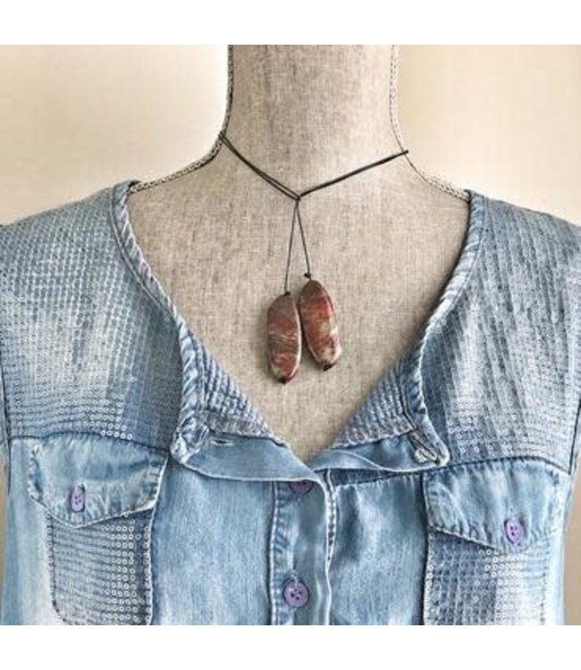 Freckle Face Leather cord lariat necklace