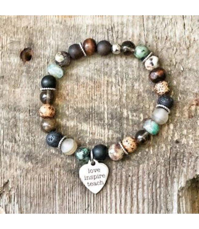 Freckle Face Teacher beaded bracelet w/charm