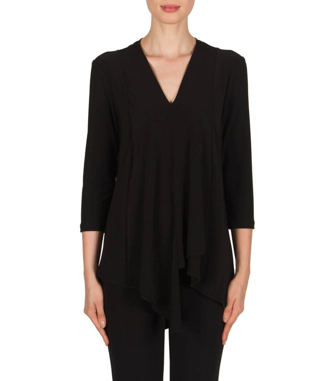 Joseph Ribkoff Pleated Front Black Blouse