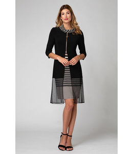 Joseph Ribkoff Cowl Neck/Striped Dress tan/black