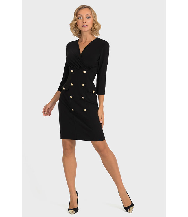 Joseph Ribkoff Black Dress w/Gold Buttons