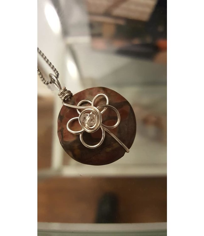 Freckle Face Wire Wrapped Flower necklace