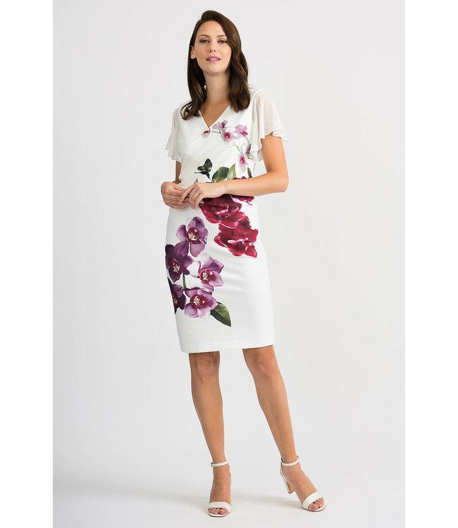 Joseph Ribkoff Short sleeve Vanilla multi flower dress
