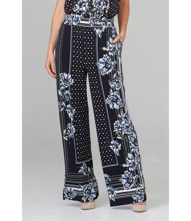 Joseph Ribkoff Flowy pants-multi blue print