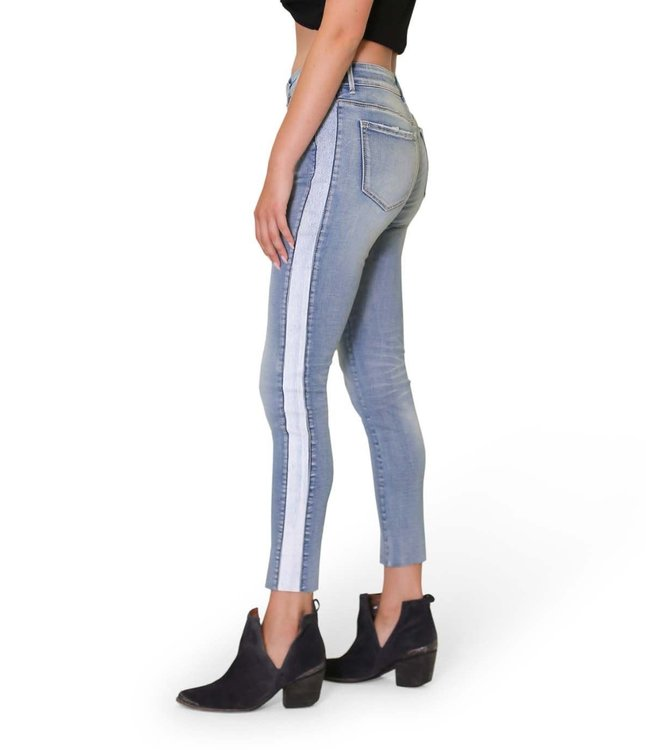 Lola High rise jeans- high rise distressed stripe