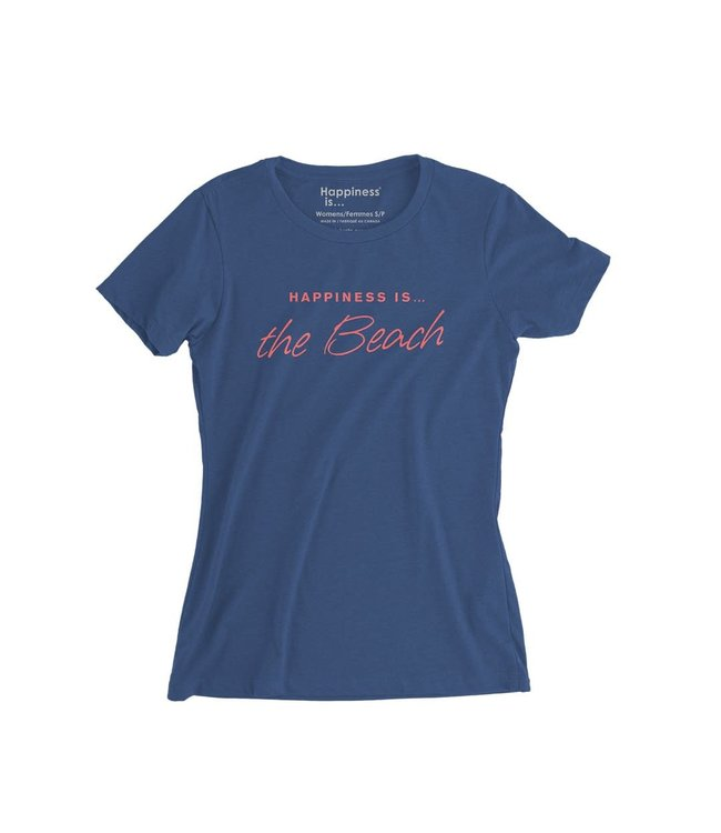 Happiness is... Women's Beach t-shirt- blue