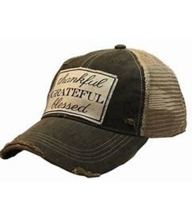 Vintage Life Hats Thankful/Blessed/Grateful - black