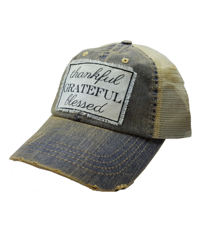 Vintage Life Hats Thankful/Blessed/grateful - blue