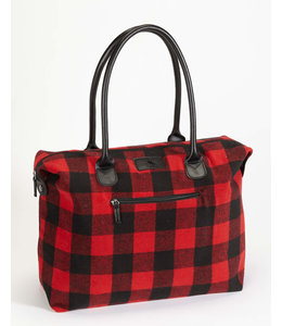 DKR and Apparel Buffalo Check Weekender Bag with Inner Pockets
