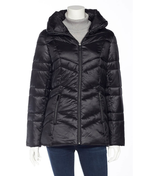 DKR and Apparel Ellen Tracy Full Zip Puffer Jacket Black