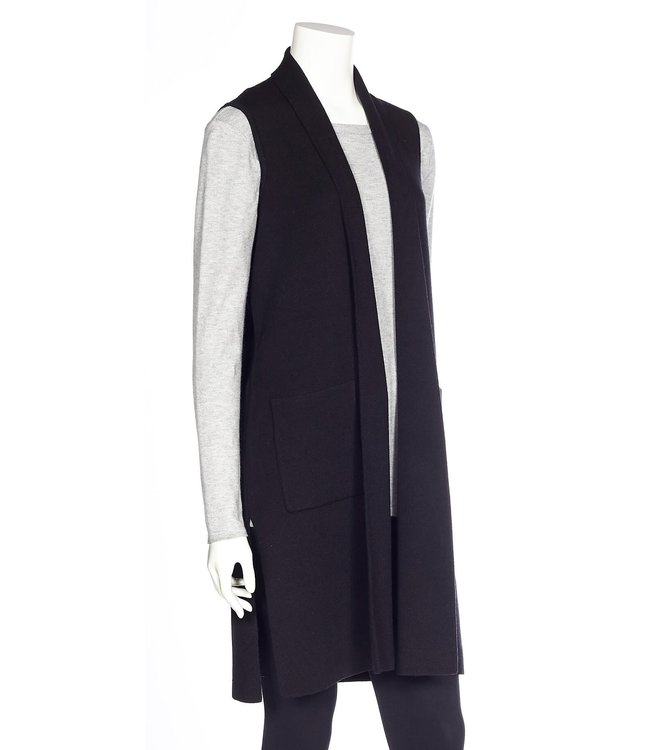 DKR and Apparel Slvls Long Vest w Pockets  Black