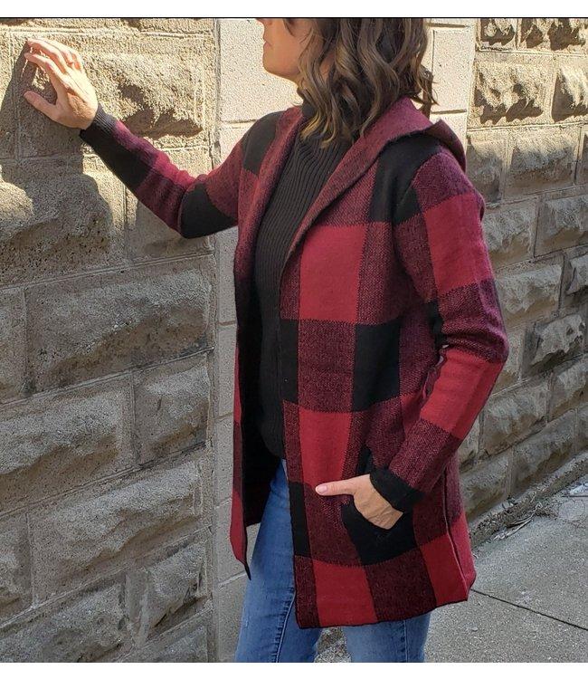 DaVan Co. Buffalo check hooded open cardigan -red