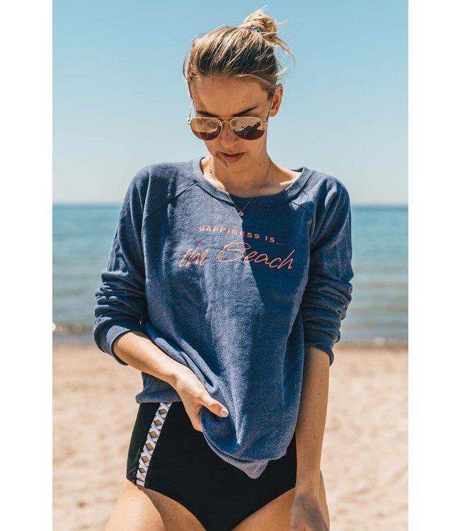 Happiness is... Women's Beach Crew Sweatshirt-Heather Navy
